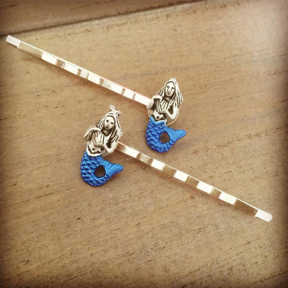 Mermaid Hair Pins bobby pins hair clips silver blue