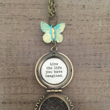 Butterfly Locket life the life you have imagined quote message graduation encouragment