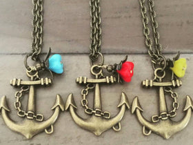Anchor necklace flower dangle choose color nautical jewelry