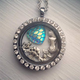 Mermaid Locket Necklace glass locket crystal seahorse nautical theme