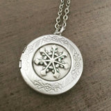 Snowflake locket necklace silver holiday jewelry