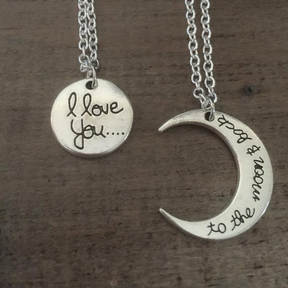 Mother Daughter Necklace Set. I love you to the moon and back