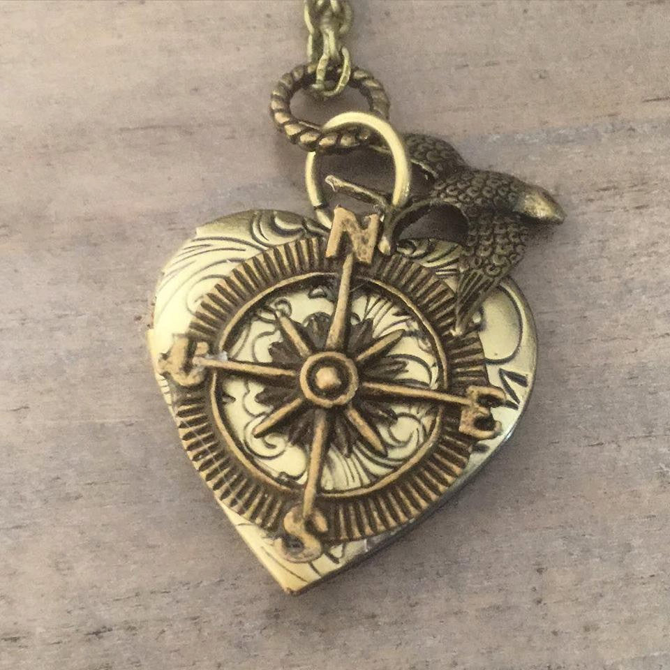 Heart Compass Locket necklace bird valentine gift for her