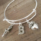 Ballet Bangle Bracelet personalized any letter silver charm bracelet