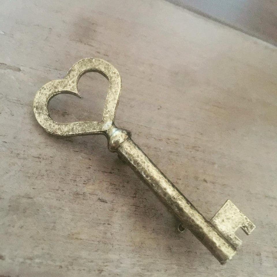 Heart Key Brooch Pin skeleton key reproduction valentine's gift for her