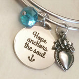Hope Anchors the Soul charm bracelet silver stainless steel bangle