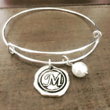 Wax Seal Letter Charm Bangle Bracelet glass pearl silver personalized gift any letter initial