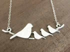 Birds on a Branch Silver Necklace mom of three gift for Mother