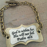 God is within her Bracelet toggle stamped jewelry Psalm 46