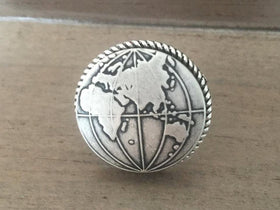 Globe Ring silver ox world map adventure travel gift