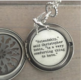 Friendship Locket Necklace Pooh Quote Jewelry Best Friend Gift