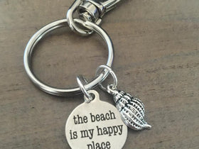 Beach keychain keyring the beach is my happy place shell silver