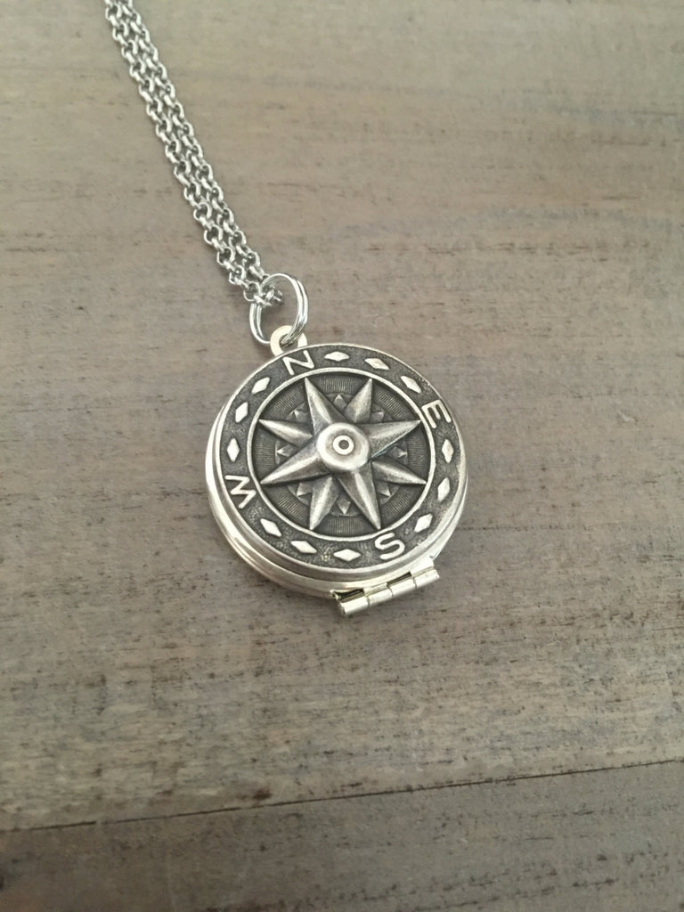 Silver Compass Locket Necklace adventure love gift