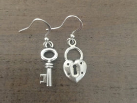 Lock and Key Earrings silver dangle
