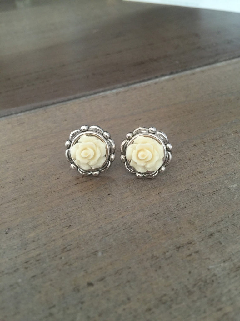 Ivory Rose Earrings cream floral silver studs wedding bridesmaid jewelry