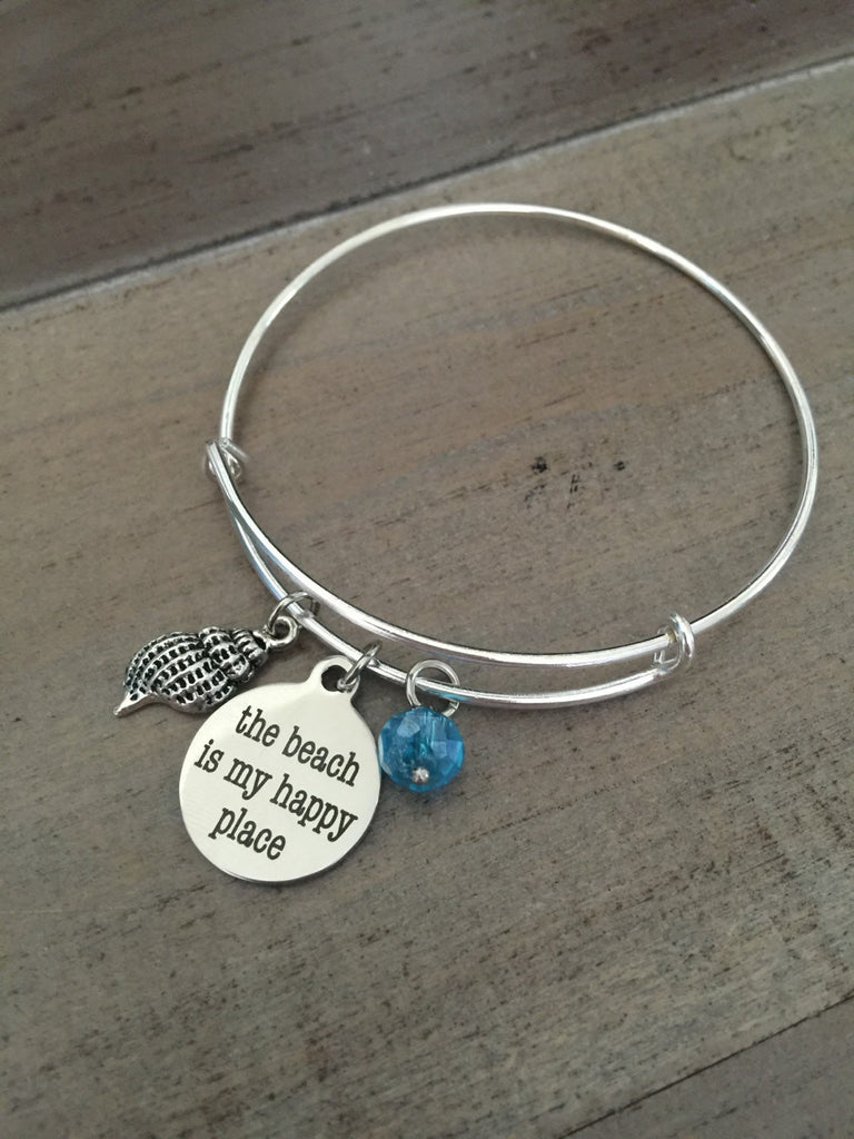 Beach Bangle Bracelet, The Beach Is My Happy Place, silver charm bracelet, Ocean Charm