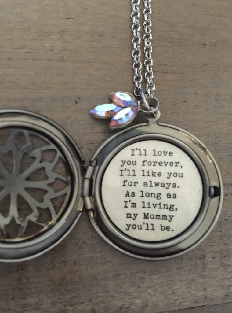 Mother Locket, i'll love you forever I'll like you for always, gift for mom, Mother's Day, silver Swarovski locket