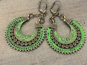 Bo Ho earrings, Crescent earrings, lime green, gypsy, ethnic tribal jewelry