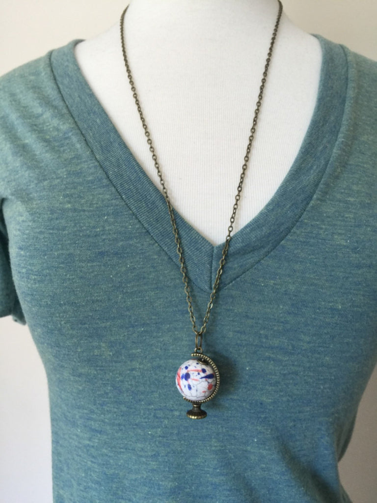 Globe Necklace, graduation gift, world globe, travel gift, wanderlust, geography