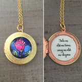 Beauty and the Beast Locket Necklace quote jewelry