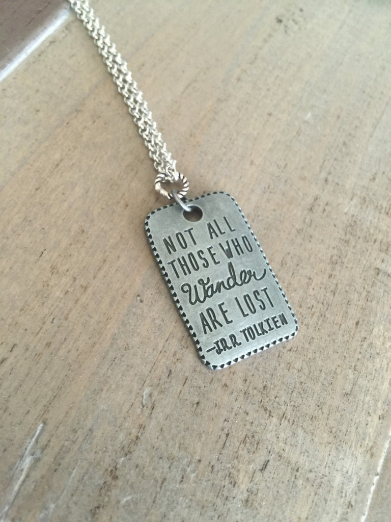 Not all those who wander are lost necklace silver adventure gift