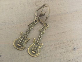 Guitar Earrings brass dangles music gift