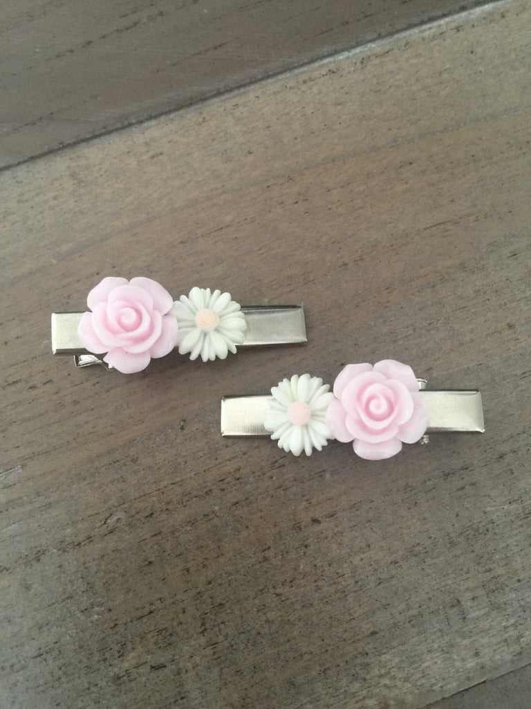 Rose and Daisy hair clips pink and white silver barrettes flower girl gift