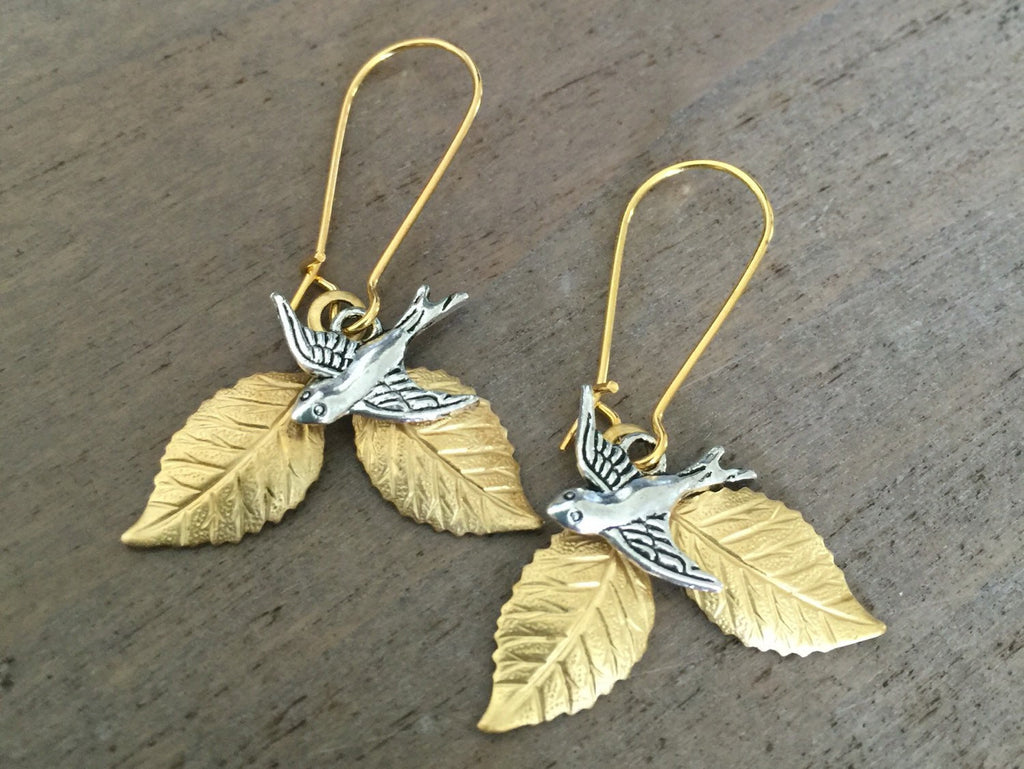 Leaf and Bird earrings, branch earrings, woodland, nature, mixed metals