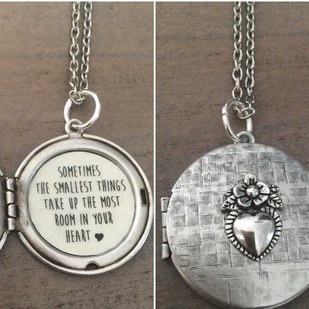 Silver Pooh Locket Necklace, sometimes the smallest things take up the most room in our heart, quote jewelry