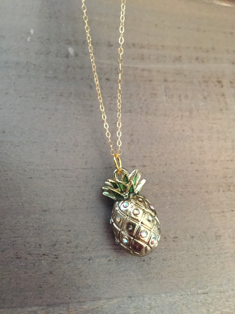 Gold Pineapple Necklace, gold filled chain, resort jewelry, welcome gift