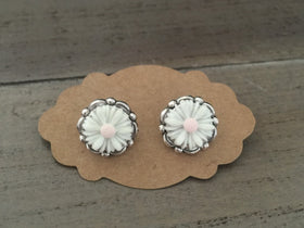 Daisy Stud Earrings, Daisy Posts, white pink daisies, flower girl,   Wedding jewelry