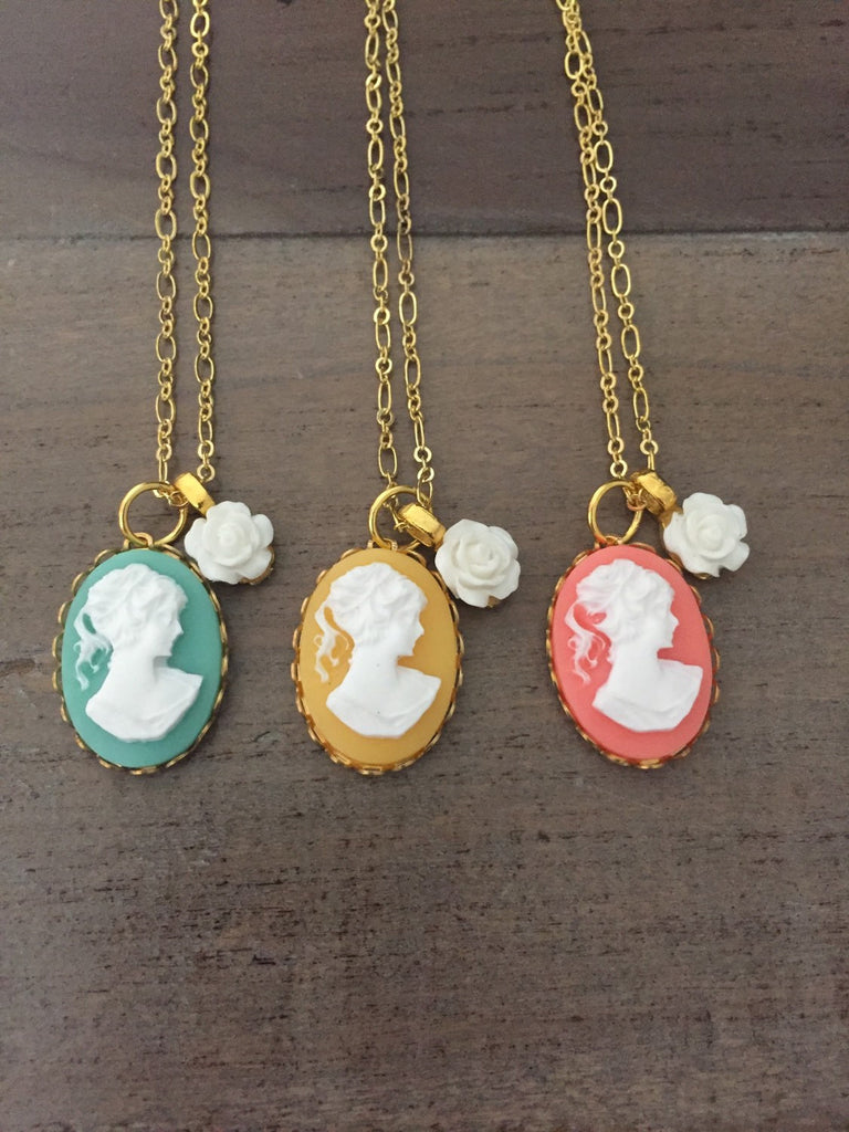 Cameo necklace, Victorian woman, mint green cameo, yellow cameo, coral cameo, mothers day, bridal jewelry