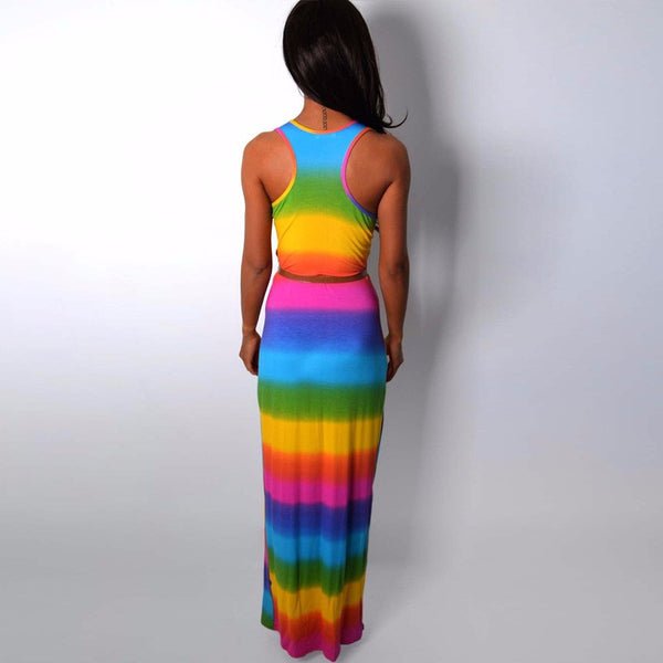 Rainbow Maxi Dress Boho Style - Beach'n Designs