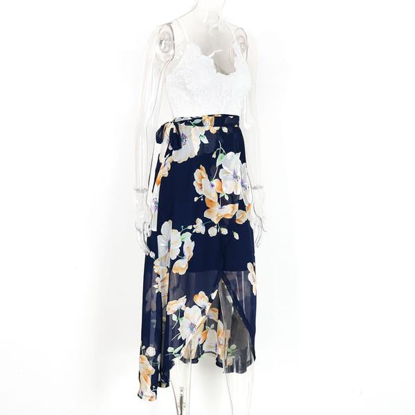 Floral Print Chiffon Dress Patchwork Lace - Beach'n Designs