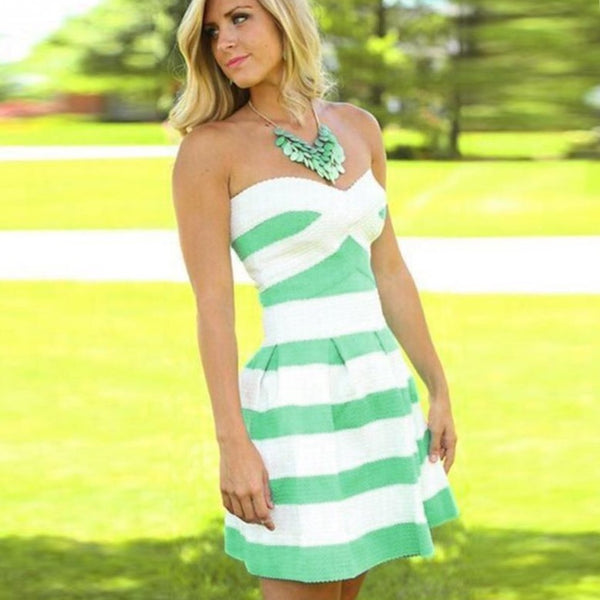 Teal and White Striped Summer Mini Dress - Beach'n Designs