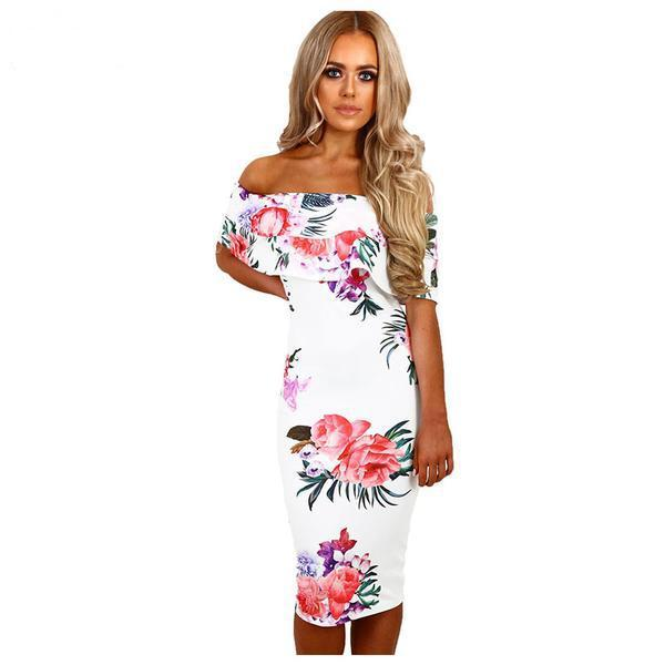 Floral Print Midi off the shoulder Bodycon Dress - Beach'n Designs