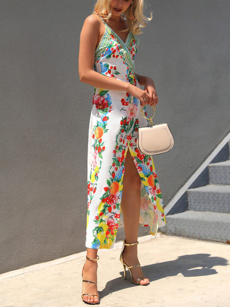 Floral Boho Beach Wrapped Casual High Slit Maxi Dress - Beach'n Designs