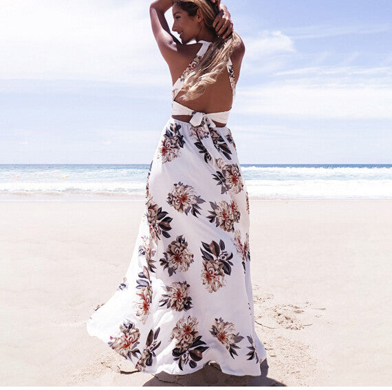 Anself Bohemian Floral Print Summer Maxi Dress - Beach'n Designs