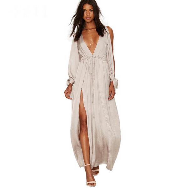Long Sleeve Plunge Neck Split Elegant Maxi Dress - Beach'n Designs
