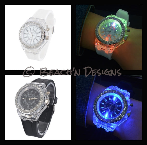 Rhinestone illuminating Night Light LED Watch - Beach'n Designs - 4
