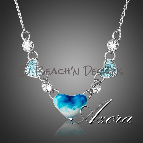 Romantic Blue Heart Austrian Crystal Necklace - Beach'n Designs