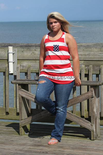 4th of July Tank Top with Bow on back - Beach'n Designs