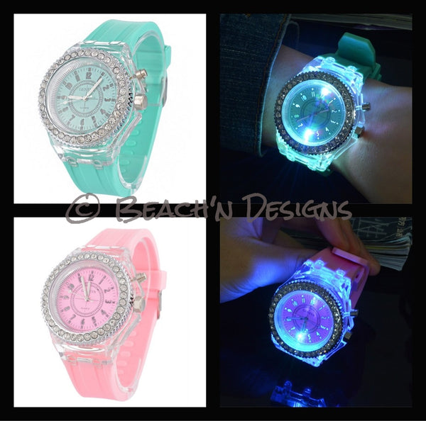 Rhinestone illuminating Night Light LED Watch - Beach'n Designs - 5