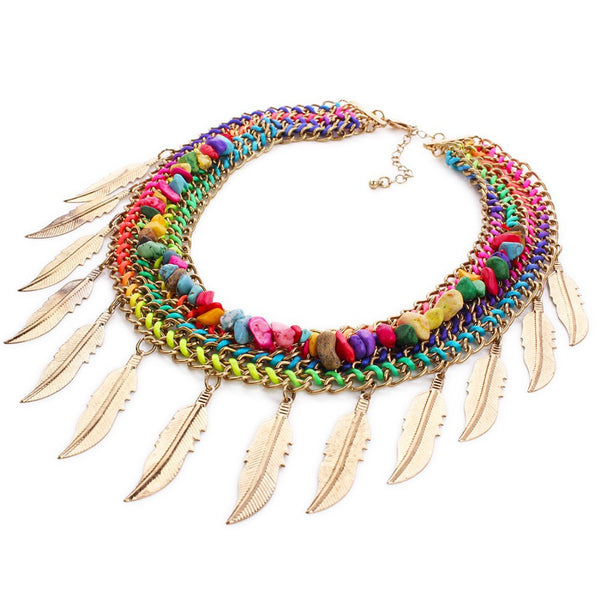 Bohemian feather beaded necklace - Beach'n Designs
