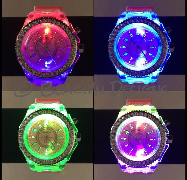 Rhinestone illuminating Night Light LED Watch - Beach'n Designs - 1