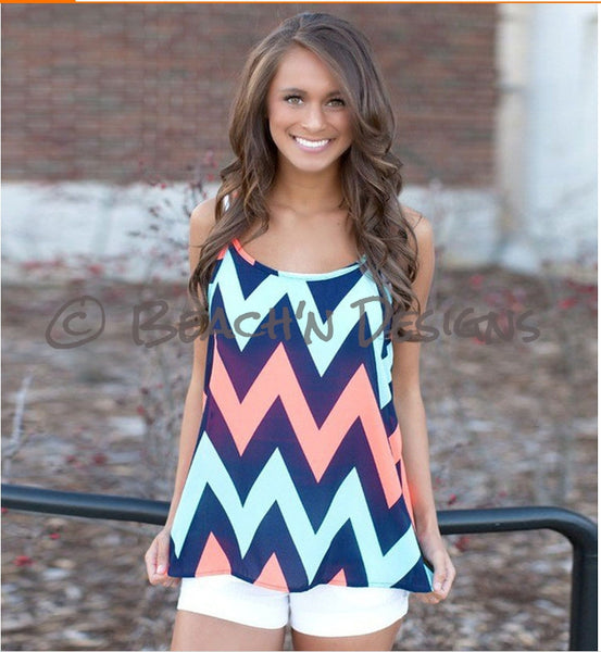Chevron Print Tank Top - Beach'n Designs