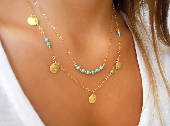 Boho turquoise layered necklace - Beach'n Designs