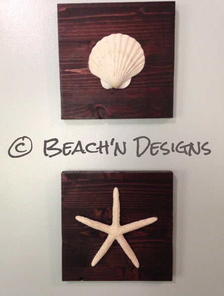 Seashell and starfish wall decor (set of 2) - Beach'n Designs - 2