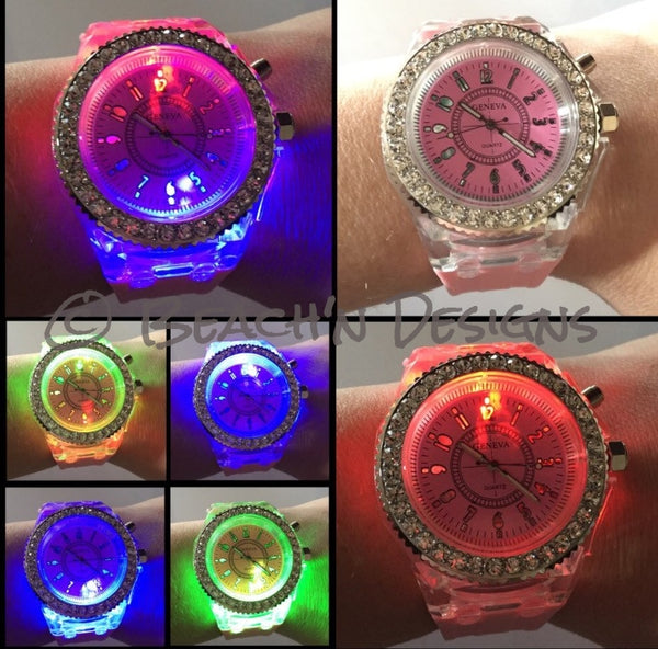 Rhinestone illuminating Night Light LED Watch - Beach'n Designs - 3