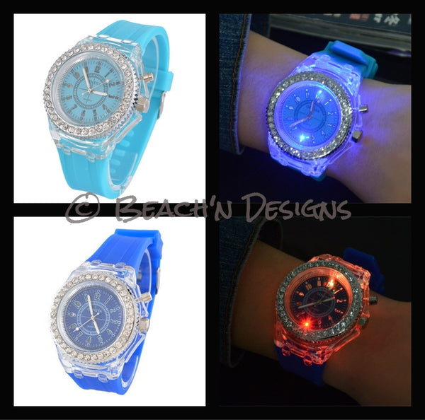 Rhinestone illuminating Night Light LED Watch - Beach'n Designs
